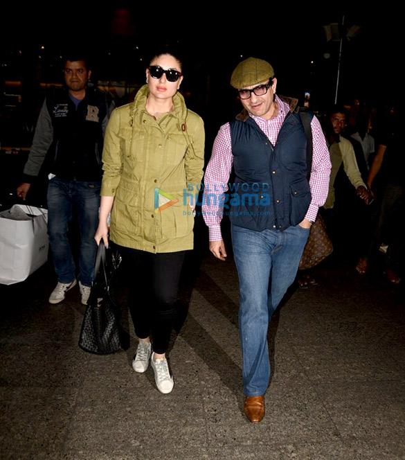लंदन से लौटते हुए सैफ अली खान और करीना कपूर