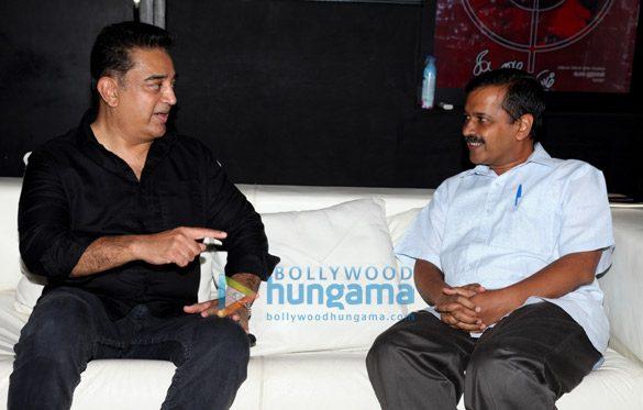 दिल्ली के मुख्यमंत्री अरविंद केजरीवाल से मुलाकात करते कमल हासन